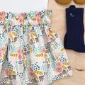 Size 2 - High Waist Skirt - Cream - Mustard - Organic Cotton -