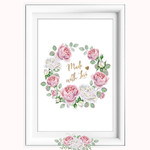 Made with Love Pink White Roses Printable