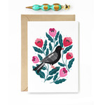 Black Bird and Pink Flowers