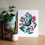 Pink Flowers and Black Bird Art Print 8x10