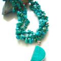 Genuine TURQUOISE, 3 Strands necklace with Turquoise Pendant.