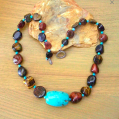 Genuine Tiger's Eye and Turquoise Unique Necklace.