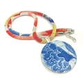 Kimono Necklace/Pendant - Blue and Red Florals