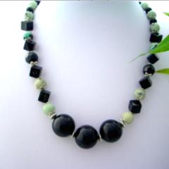 Genuine Leek Green Australian GASPEITE and Black Beads, Stylish Necklace.