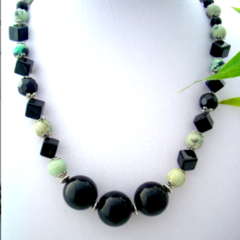 Genuine Leek Green Australian GASPEITE and Black Beads, Stylish Necklace.