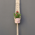 Long Macramé Plant Holder with Peach Hook