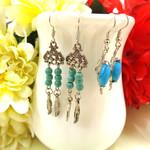 Two pairs blue earrings, Boho, Turquoise