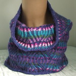 Woman's Cowl / Neck-Warmer, Pure Merino Wool, Reversible, Purple / Teal