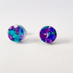 Round circle laser cut acrylic studs - blue / purple heart glitter studs