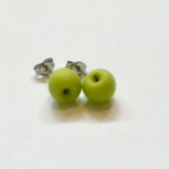 Apple studs : Green granny smith apples - Apple stud earrings - Teachers Gift
