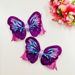 Butterfly wings  Hair Bow , Birthday Bow Pair