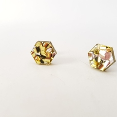 Hexagonal studs -  Laser cut acrylic earrings - gold & silver glitter studs
