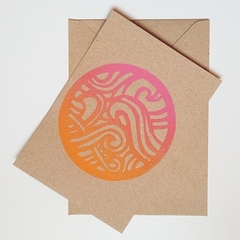 Greeting Card Handprinted 'Sunset Swirl' Blank Card Birthday