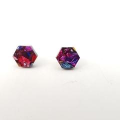 Hexagonal studs -  Laser cut acrylic earrings - Rainbow glitter acrylic