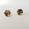 Hexagonal studs -  Laser cut acrylic earrings - gold & silver glitter studs