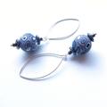 Retro patterned sterling silver drop earrings