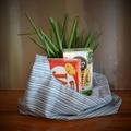 Fabric Market Bag - Blue Stripes - Small Size