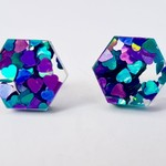 Hexagonal studs -  Laser cut acrylic earrings - blue/ purple heart glitter studs