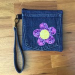 Denim Wristlet Purple Flower