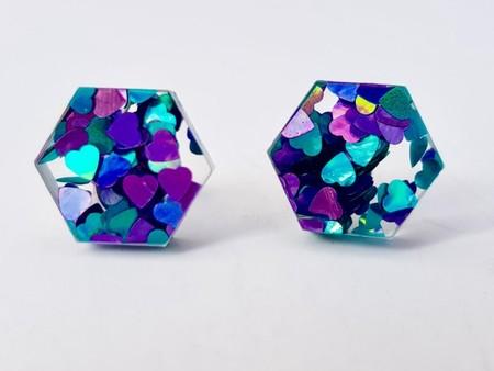 Hexagonal studs -  Laser cut acrylic earrings - blue/ purple heart glitter studs