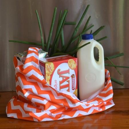 Fabric Market Bag - Orange Chevrons