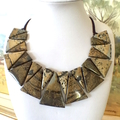 Natural PAINTING JASPER Hand-crocheted Statement Necklace.