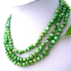 High Grade Apple-Green Fresh Water PEARLS, 3 Strands Gracious Necklace.