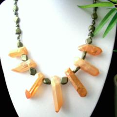 Orange Sunset Tone Crystal Quartz and PYRITE Tribal Style Necklace.