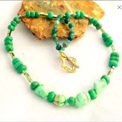Green Turquoise and Gold-Tone Hematite Necklace.