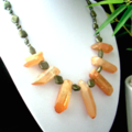 Orange Sunset Tone Crystal Quartz and PYRITE Tribal Style Necklace.