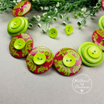 Damask in Lime and Fuchsia - Button Necklace - Button Earrings - Whimsy