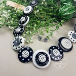 Button Necklace - Black + White Spots - Button Earrings - Whimsy