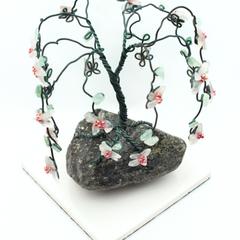 Rose Quartz and Green Aventurine Flower Gem Tree