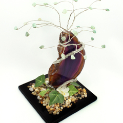 Aventurine Gem Tree with Agate Slice