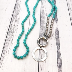 Personalised turquoise & silver Bead Necklace with stamped pendant names family