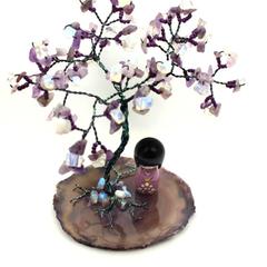 Amethyst and Opalite Gem Tree on Agate Slice