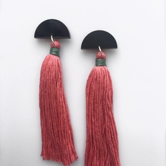 Black crescent studs with long blush pink tassels