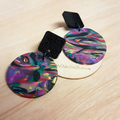 Marbled Clay - Circle and Square - Handcrafted polymer clay dangle earrings