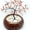 Cherry Rose Quartz and Clear Quartz Gem Tree