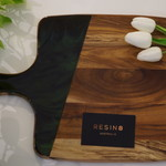 Resin8 Australia Acacia Board - Pitch Black and Bright Green Resin