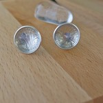 DOMED , STERLING SILVER THREE PENCE STUD EARRINGS