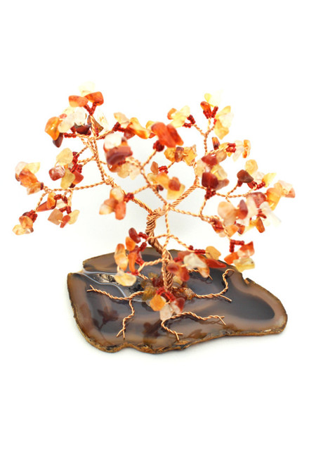 Carnelian Gem Tree on Agate Slice