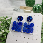 Sparkling Blue Teeny Tiny Buttons in Resin - Square Stud Dangle earrings