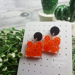Bold Orange Teeny Tiny Buttons in Resin - Square Stud Dangle earrings