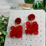 Ruby Red Teeny Tiny Buttons in Resin - Square Stud Dangle earrings
