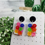 Teeny Tiny Buttons in Resin - Rectangle Stud Dangle earrings