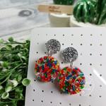 Freckles - Sprinkles in Resin - Circle Stud Dangle earrings
