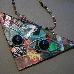 Pablo - Collage cat pendant
