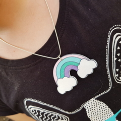 Wooden pastel coloured donut on silver chain