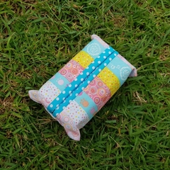Tissue holder pastel coloured quilting cotton fabric